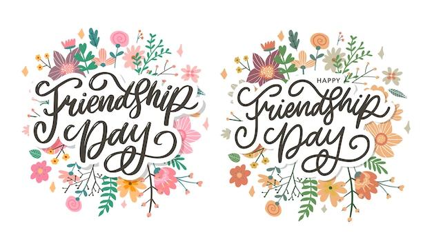 Illustration de la journée de l'amitié avec texte et éléments pour célébrer les fleurs de la journée de l'amitié
