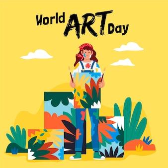 Illustration de la journée de l'art du monde plat