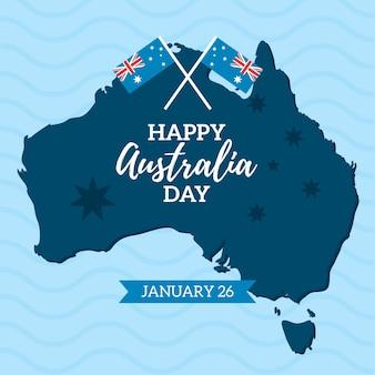 Illustration de la journée de l'australie avec des drapeaux