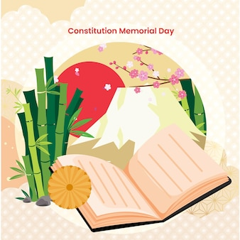 Illustration de la journée commémorative de la constitution japonaise plate