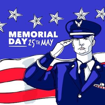 Illustration de la journée commémorative des usa dessinés à la main