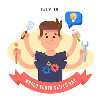 Illustration de la journée des compétences des jeunes dans le monde plat