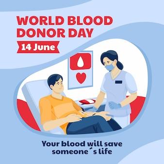 Illustration de la journée des donneurs de sang du monde plat organique