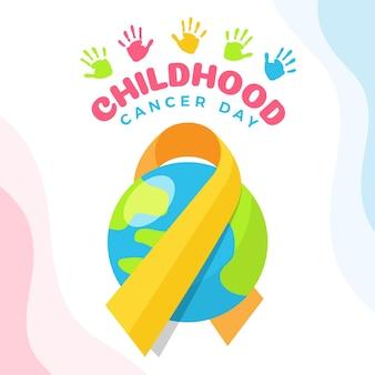 Illustration de la journée du cancer infantile avec ruban et planète