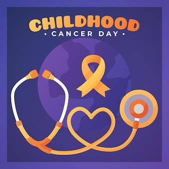 Illustration de la journée du cancer infantile avec ruban et stéthoscope
