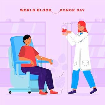 Illustration de la journée du don de sang du monde plat organique