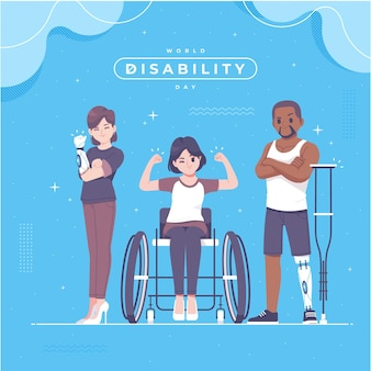Illustration de la journée du handicap dessiné à la main