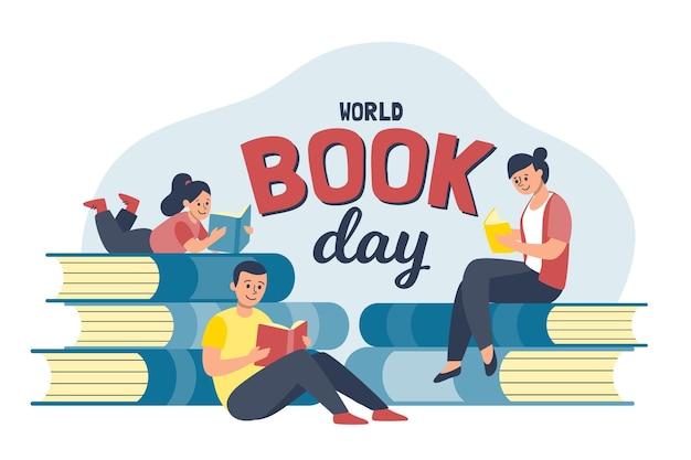 Illustration de la journée du livre du monde plat organique