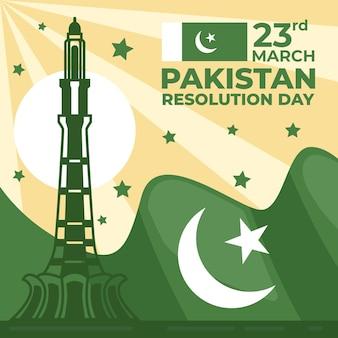 Illustration de la journée du pakistan avec drapeau et bâtiment minar-e-pakistan