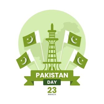 Illustration de la journée du pakistan avec la mosquée de badshahi et les drapeaux