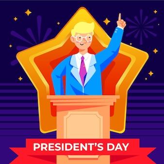 Illustration de la journée du président design plat