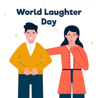 Illustration de la journée du rire du monde plat