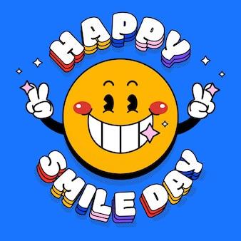 Illustration de la journée du sourire du monde plat dessiné à la main