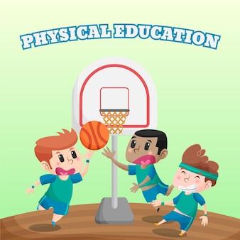 Illustration de la journée de l'éducation physique de dessin animé