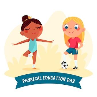 Illustration de la journée de l'éducation physique dessinée à la main