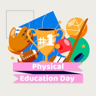Illustration de la journée de l'éducation physique à plat