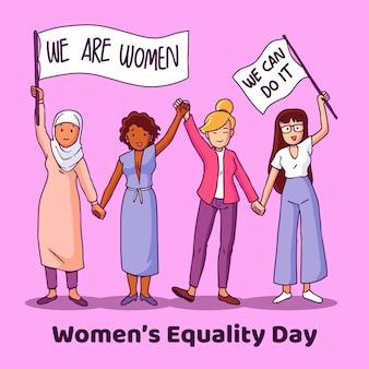 Illustration de la journée de l'égalité des femmes dessinée à la main