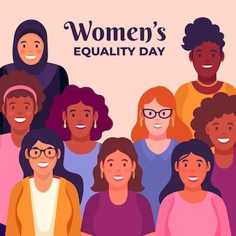 Illustration de la journée de l'égalité des femmes plates