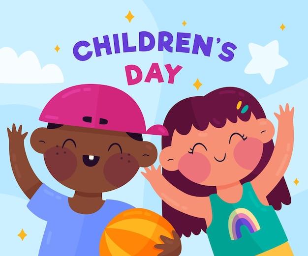 Illustration De La Journée Des Enfants Du Monde Plat Bio Vecteur gratuit