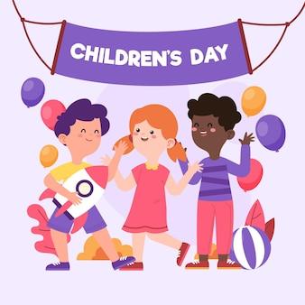 Illustration de la journée des enfants du monde plat bio