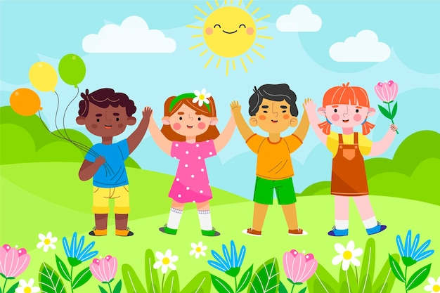 Illustration de la journée des enfants du monde plat dessinés à la main