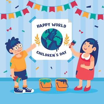 Illustration de la journée des enfants du monde plat
