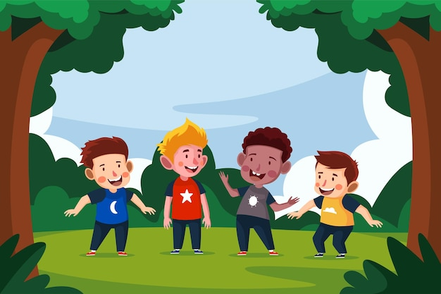 Illustration de la journée des enfants heureux