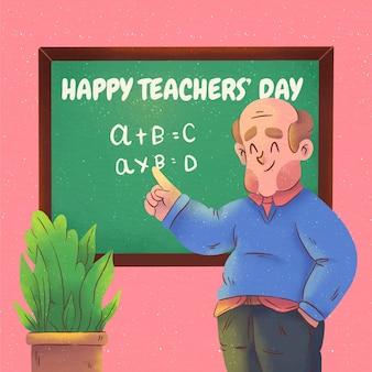 Illustration de la journée des enseignants à l'aquarelle