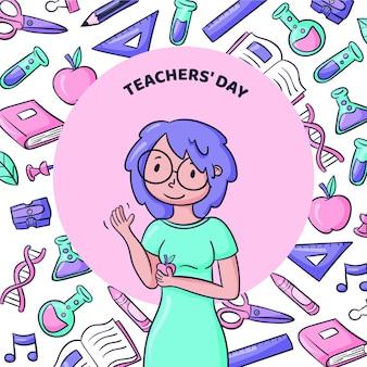 Illustration de la journée des enseignants dessinée à la main