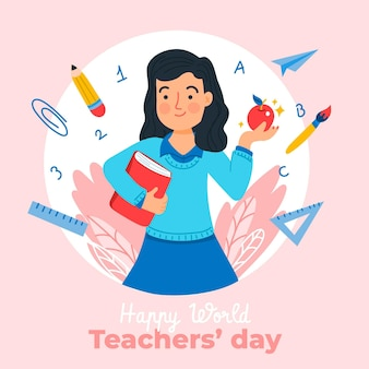 Illustration de la journée des enseignants dessinés à la main