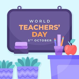 Illustration de la journée des enseignants à plat dessinée à la main avec des plantes et des pommes