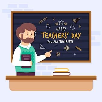 Illustration de la journée des enseignants plat