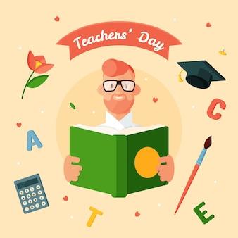 Illustration de la journée des enseignants à plat