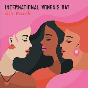 Illustration de la journée des femmes dessinée à la main