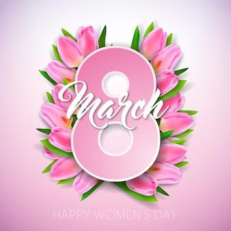 Illustration de la journée des femmes heureux avec bouquet de tulipes et lettre de typographie 8 mars