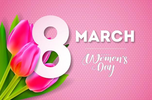 Illustration de la journée des femmes heureux avec bouquet de tulipes