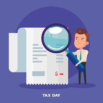 Illustration de la journée fiscale avec le caractère de l'homme d'affaires