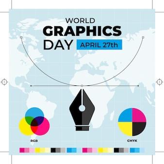 Illustration de la journée des graphiques du monde plat