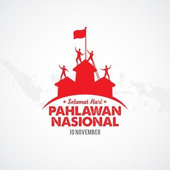 Illustration de la journée des héros de pahlawan design plat