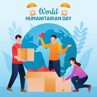 Illustration de la journée humanitaire mondiale du dégradé