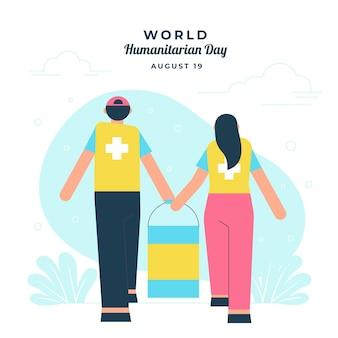 Illustration de la journée humanitaire mondiale plate