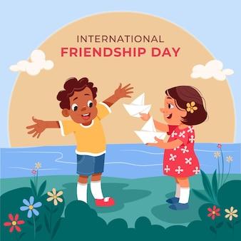 Illustration de la journée internationale de l'amitié de dessin animé
