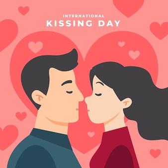 Illustration de la journée internationale des baisers avec couple s'embrassant