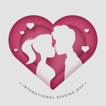 Illustration de la journée internationale des baisers dans un style papier