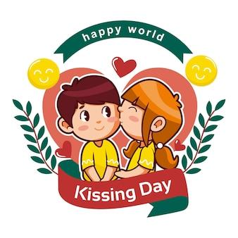 Illustration de la journée internationale des baisers de dessin animé
