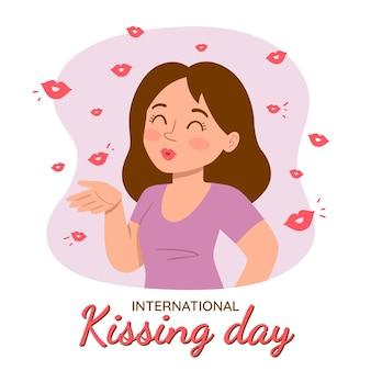 Illustration de la journée internationale des baisers dessinés à la main avec une femme