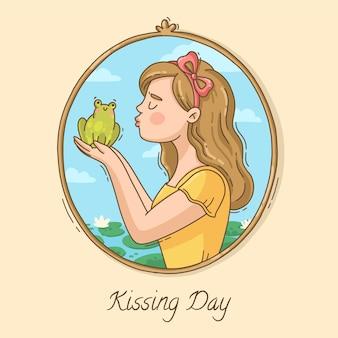 Illustration de la journée internationale des baisers dessinés à la main