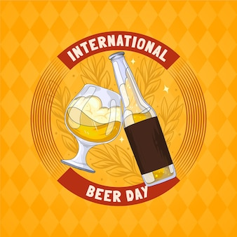 Illustration de la journée internationale de la bière dessinée à la main
