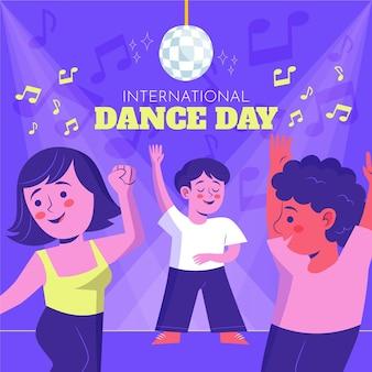 Illustration de la journée internationale de la danse dessinée à la main avec des gens