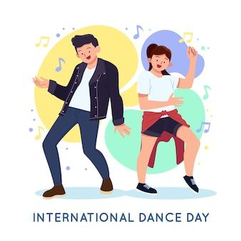 Illustration de la journée internationale de la danse dessinée à la main